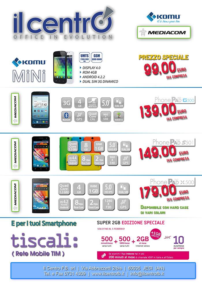 Smartphone Komu e mediacom Il Centro F.B. srl