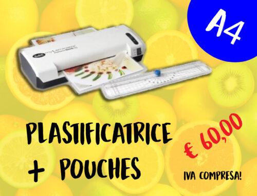 NON PERDERTI L'OFFERTA DI QUESTA SETTIMANA: PLASTIFICATRICE A3, o A4 + 1 CONFEZIONE DI POUCHES A PARTIRE DA € 60,00!