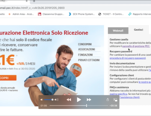 Video Tutorial – Come modificare la password della vostra casella PEC